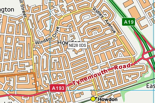 Denbigh Community Primary School map (NE28 0DS) - OS VectorMap District (Ordnance Survey)