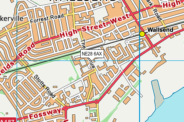 NE28 6AX map - OS VectorMap District (Ordnance Survey)