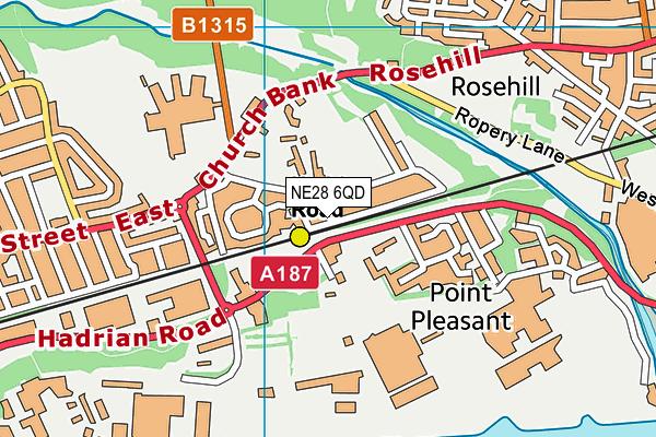 NE28 6QD map - OS VectorMap District (Ordnance Survey)