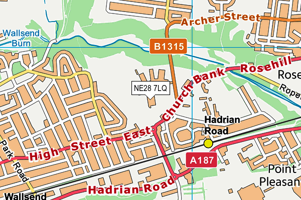 Burnside College map (NE28 7LQ) - OS VectorMap District (Ordnance Survey)