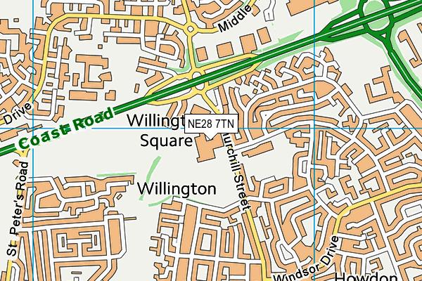 NE28 7TN map - OS VectorMap District (Ordnance Survey)