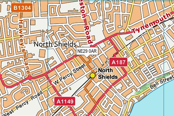 NE29 0AR map - OS VectorMap District (Ordnance Survey)