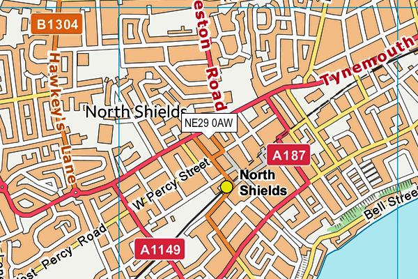 NE29 0AW map - OS VectorMap District (Ordnance Survey)