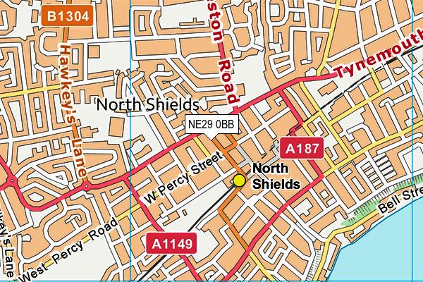 NE29 0BB map - OS VectorMap District (Ordnance Survey)