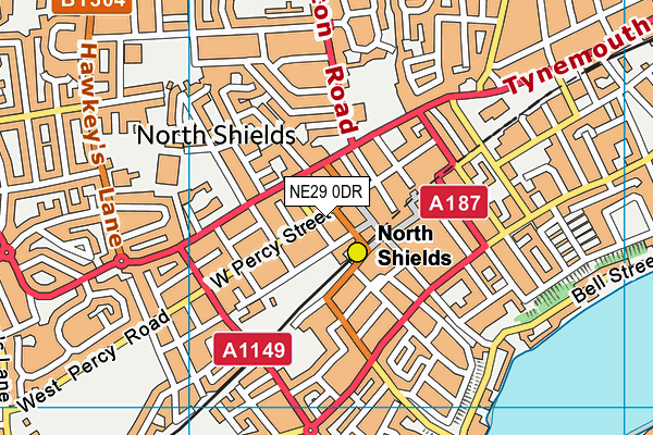NE29 0DR map - OS VectorMap District (Ordnance Survey)
