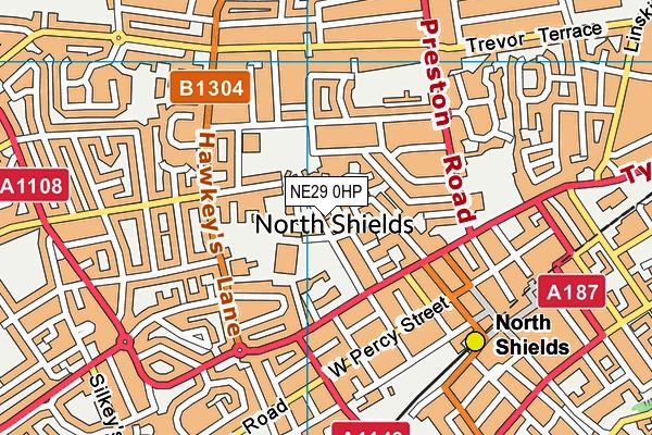Spring Gardens Primary School map (NE29 0HP) - OS VectorMap District (Ordnance Survey)