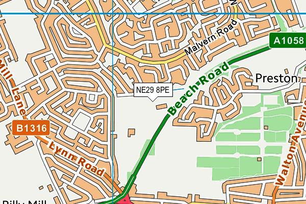 Whitehouse Primary School map (NE29 8PE) - OS VectorMap District (Ordnance Survey)