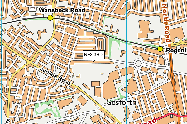 Gosforth Leisure Centre map (NE3 3HD) - OS VectorMap District (Ordnance Survey)