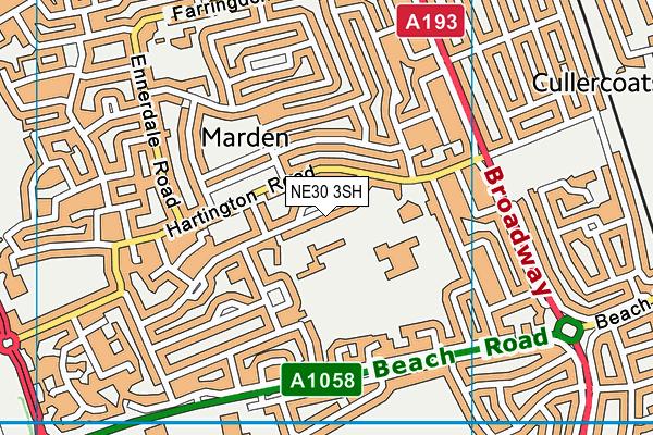 Monkhouse Primary School map (NE30 3SH) - OS VectorMap District (Ordnance Survey)