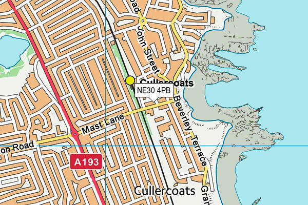 Cullercoats Primary School map (NE30 4PB) - OS VectorMap District (Ordnance Survey)