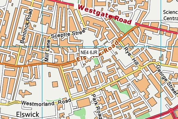 Ashfield Nursery School map (NE4 6JR) - OS VectorMap District (Ordnance Survey)
