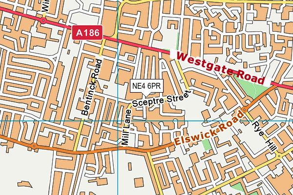Bahr Academy map (NE4 6PR) - OS VectorMap District (Ordnance Survey)
