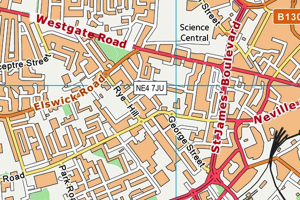 St Paul's CofE Primary School map (NE4 7JU) - OS VectorMap District (Ordnance Survey)