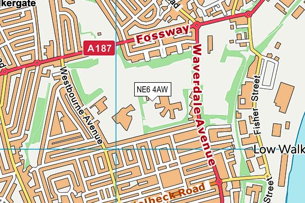 Walker Riverside Academy map (NE6 4AW) - OS VectorMap District (Ordnance Survey)
