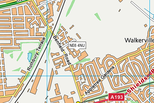 Benfield School map (NE6 4NU) - OS VectorMap District (Ordnance Survey)