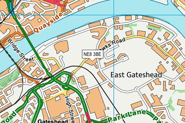 Gateshead College map (NE8 3BE) - OS VectorMap District (Ordnance Survey)