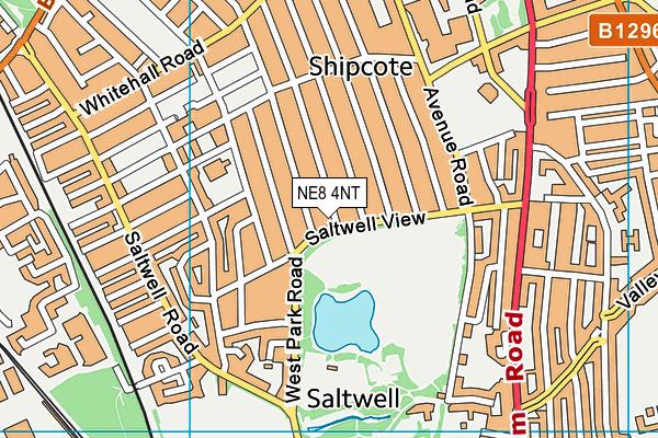 Saltwell Park map (NE8 4NT) - OS VectorMap District (Ordnance Survey)