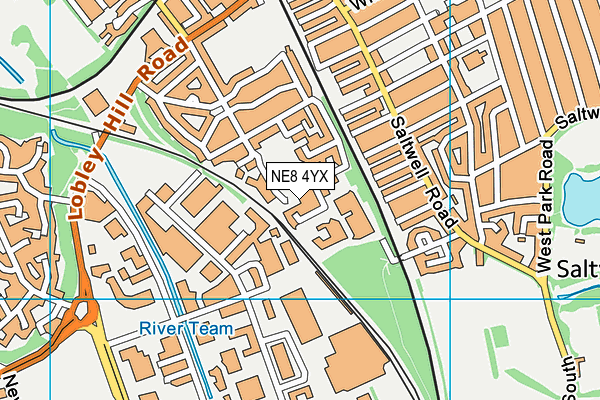 NE8 4YX map - OS VectorMap District (Ordnance Survey)