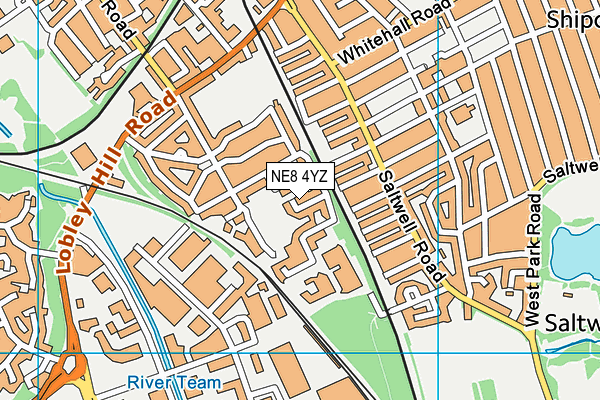NE8 4YZ map - OS VectorMap District (Ordnance Survey)