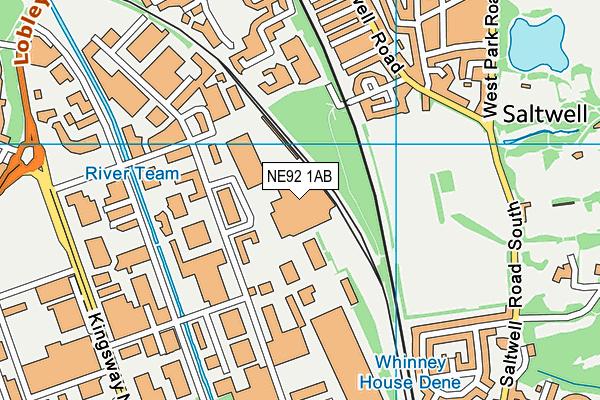 NE92 1AB map - OS VectorMap District (Ordnance Survey)