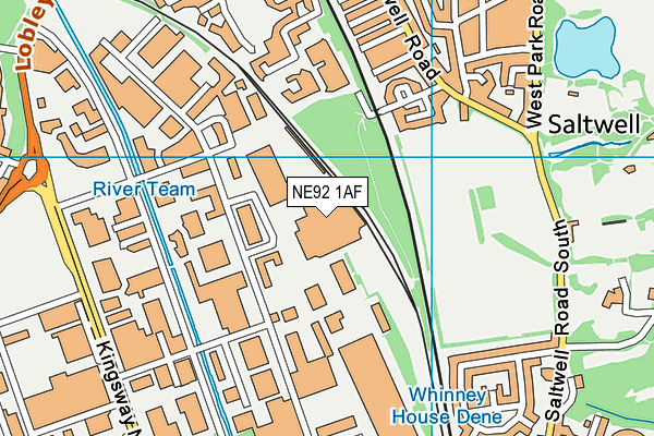 NE92 1AF map - OS VectorMap District (Ordnance Survey)