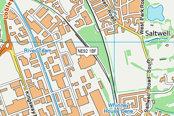 NE92 1BF map - OS VectorMap District (Ordnance Survey)