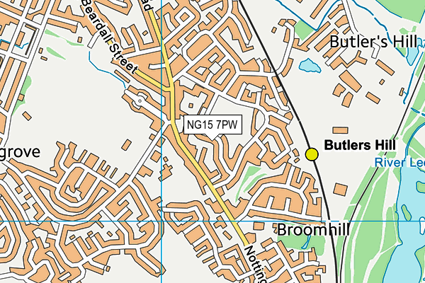 Butlers Hill Recreation Ground map (NG15 7PW) - OS VectorMap District (Ordnance Survey)