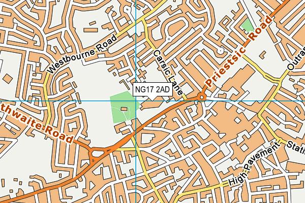 Lammas Leisure Centre map (NG17 2AD) - OS VectorMap District (Ordnance Survey)