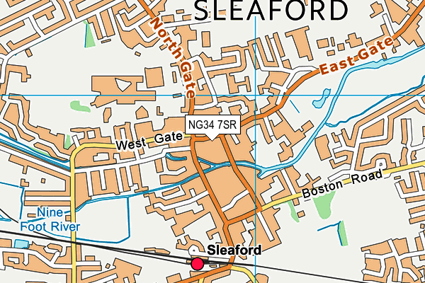 Sleaford Library map (NG34 7SR) - OS VectorMap District (Ordnance Survey)