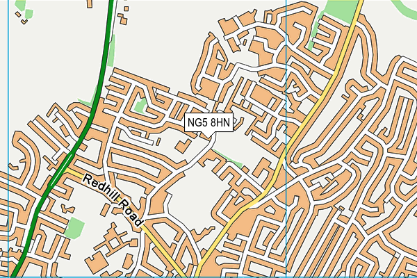 Derrymount School map (NG5 8HN) - OS VectorMap District (Ordnance Survey)