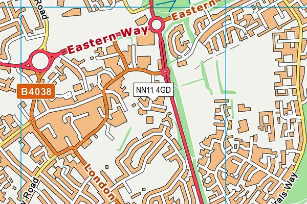 Abbey CofE Academy map (NN11 4GD) - OS VectorMap District (Ordnance Survey)