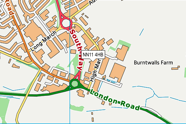 Big Guns Gym (Closed) map (NN11 4HB) - OS VectorMap District (Ordnance Survey)