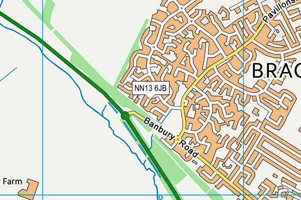 NN13 6JB map - OS VectorMap District (Ordnance Survey)