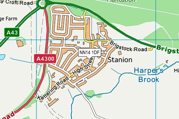 NN14 1DF map - OS VectorMap District (Ordnance Survey)