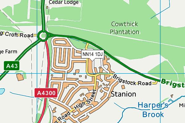 NN14 1DJ map - OS VectorMap District (Ordnance Survey)