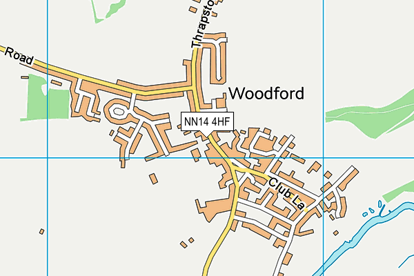 Woodford Church of England Primary School map (NN14 4HF) - OS VectorMap District (Ordnance Survey)