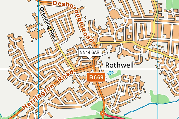 NN14 6AB map - OS VectorMap District (Ordnance Survey)
