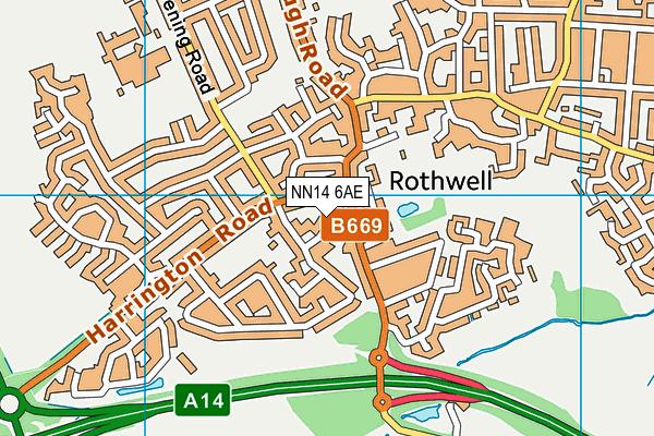 NN14 6AE map - OS VectorMap District (Ordnance Survey)