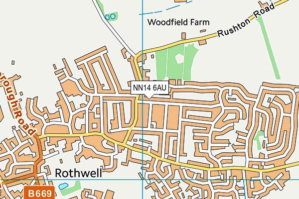 NN14 6AU map - OS VectorMap District (Ordnance Survey)