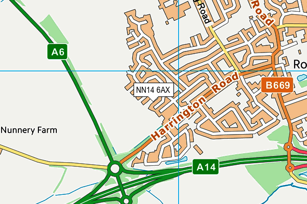 NN14 6AX map - OS VectorMap District (Ordnance Survey)