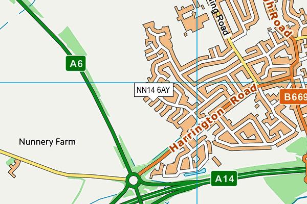 NN14 6AY map - OS VectorMap District (Ordnance Survey)