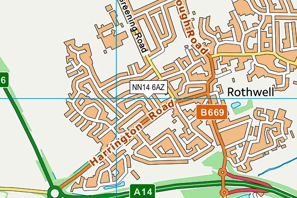 NN14 6AZ map - OS VectorMap District (Ordnance Survey)