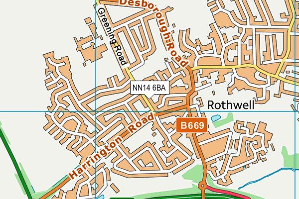 NN14 6BA map - OS VectorMap District (Ordnance Survey)