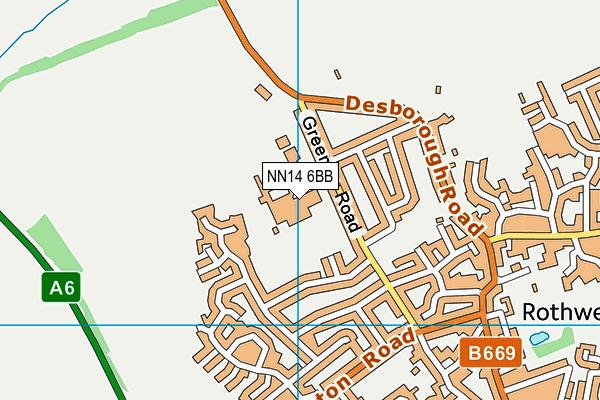 NN14 6BB map - OS VectorMap District (Ordnance Survey)