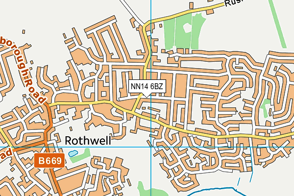 NN14 6BZ map - OS VectorMap District (Ordnance Survey)