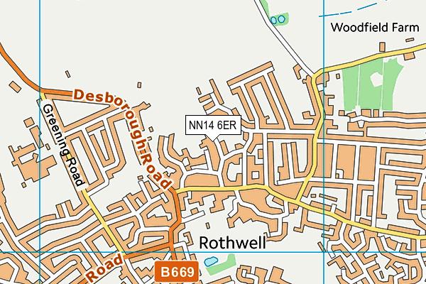 Rothwell Junior School map (NN14 6ER) - OS VectorMap District (Ordnance Survey)