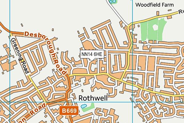 NN14 6HE map - OS VectorMap District (Ordnance Survey)