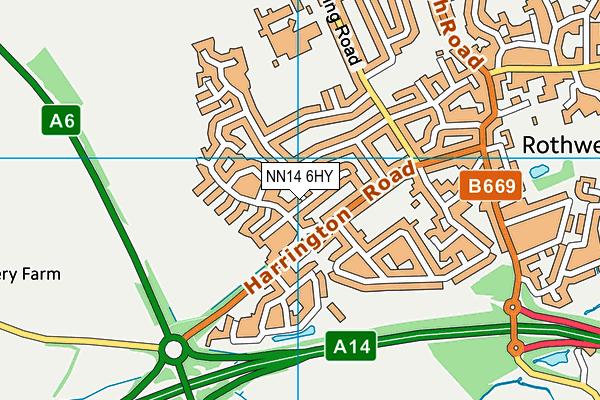NN14 6HY map - OS VectorMap District (Ordnance Survey)