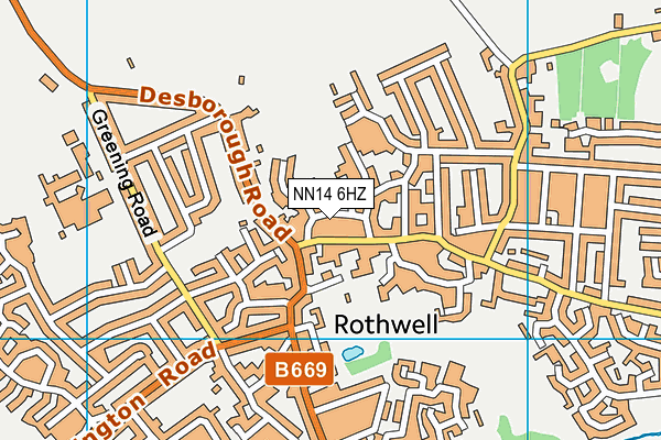 Rothwell Victoria Infant School map (NN14 6HZ) - OS VectorMap District (Ordnance Survey)