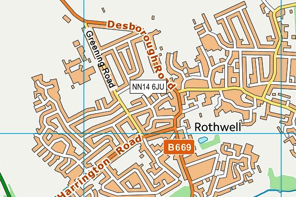 NN14 6JU map - OS VectorMap District (Ordnance Survey)